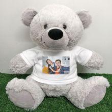 Personalised Photo Teddy Bear 40cm Grey