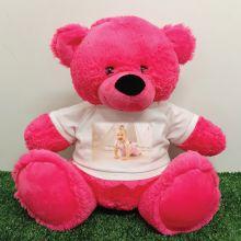 Personalised Photo Teddy Bear 40cm Hot Pink