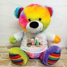 Personalised Photo Teddy Bear 40cm Rainbow