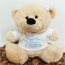 Personalised Birthday Bear Cream Plush