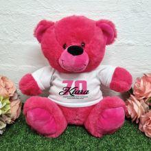 70th Birthday Bear Hot Pink Plush 30cm