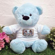 Personalised Photo Bear Light Blue 30cm