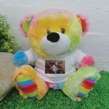 Personalised Photo T-Shirt Teddy Bear Rainbow