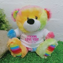 Love You Naughty Valentines  Bear - Rainbow