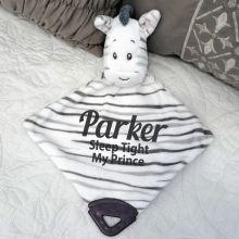 Personalised Zebra Baby Comforter, Rattle & Teether