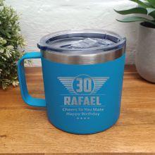 30th Birthday Blue Travel Coffee Mug 14oz (M)