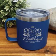 30th Birthday Cobolt Travel Coffee Mug 14oz (F)
