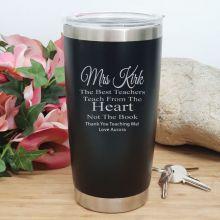 Teacher Insulated Travel Mug 600ml Black - Heart