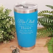 Teacher Insulated Travel Mug 600ml Blue - Heart