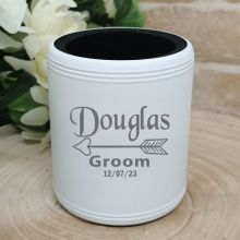 Groom Engraved White Stubby Can Cooler