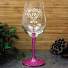 40th Birthday Engraved Personalised Wine Glass 450ml (F)