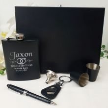 Father Of The Groom Engraved Black Flask Gift Set in  Gift Box