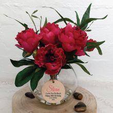 Floral Peony Ruellia Mix in Vase - 80th Birthday