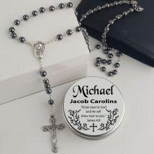Hematite Rosary Beads Personalised Tin