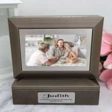 80th Photo Keepsake Trinket Box - Charcoal Grey
