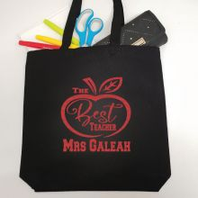 Personalised Best Teacher Tote Bag Glittered Print