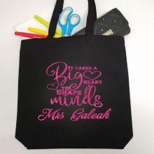 Teacher Tote Bag Glittered Print - Big Heart
