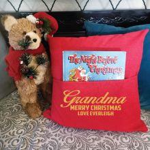 Grandma Red Christmas Pocket Pillow Cover