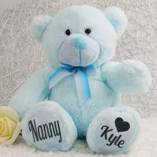 Personalised Nana Teddy Bear Plush 30cm Light Blue