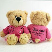 Graduation Teddy Bear Nurse Scrubs Pink