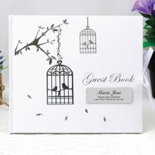 Personalised 80th Birthday Guest Book - Bird Cage