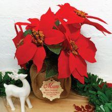 Mum Christmas Poinsettia 6 Artifical Flowers Red (38cmH)