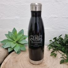 80th Birthday Engraved Drink Bottle Black (F)