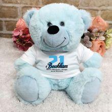 Personalised 21st Birthday Teddy Bear Light Blue