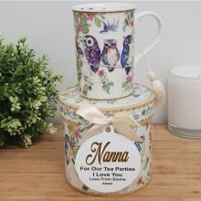 Nan Mug with Personalised Gift Box - Owls