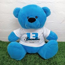 13th Birthday Personalised Bear with T-Shirt - Blue 40cm