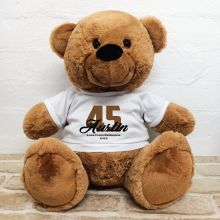 Personalised Birthday Bear with T-Shirt - Brown 40cm