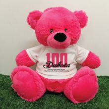 100th Birthday Personalised Bear with T-Shirt - Hot Pink 40cm