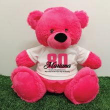 80th Birthday Personalised Bear with T-Shirt - Hot Pink 40cm