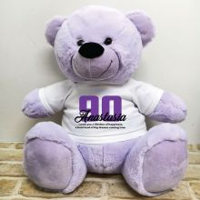 90th Birthday Personalised Bear with T-Shirt - Lavender 40cm