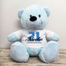 21st Birthday Personalised Bear with T-Shirt - Light Blue 40cm