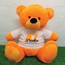 Birthday Personalised Bear with T-Shirt - Orange 40cm