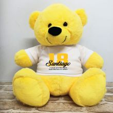 18th Birthday Personalised Bear with T-Shirt - Yellow 40cm