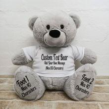 Custom Message Teddy Bear with T-Shirt Grey 40cm