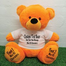 Custom Message Teddy Bear with T-Shirt Orange 40cm