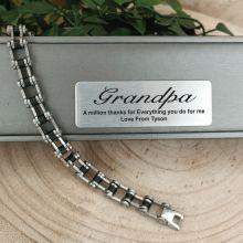 Grandpa Mens Stainless Steel Link Bracelet