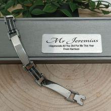 Teacher Stainless Steel & Black Bracelet