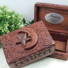 Mum Carved Wooden Trinket Box - Star & Moon