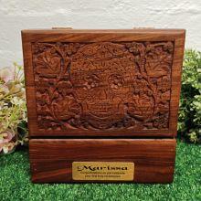 1st Holy Communion Carved Wooden Trinket Box Skull