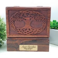 Aunt Tree Of Life Carved Wooden Trinket Box