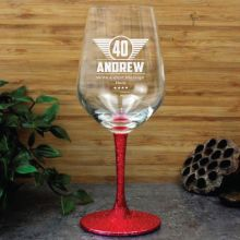 40th Birthday Engraved Personalised Wine Glass 450ml (M)