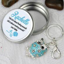 Personalised Blue Owl Keyring Gift