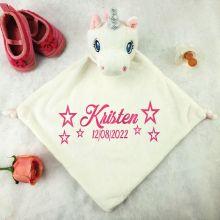 Personalised Baby Security Comforter Blanket - White Unicorn