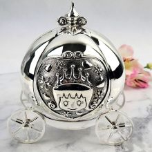 Baby Money Box Silver Pumpkin Carriage