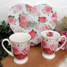 Pink Rose 2pce Mug Set in Grandma Heart Box
