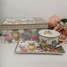 Owl Breakfast Set Cup & Sauce in Godmother Box